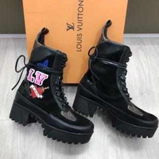 louis vuitton bot bot siyah baskili