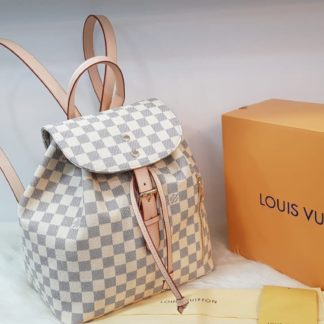 louis vuitton canta suni deri sirt backpack beyaz damier 27x33