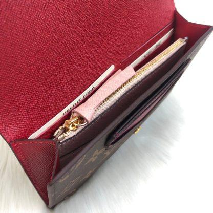 louis vuitton cuzdan jeanne kartlik monogram pembe kirmizi 20x12
