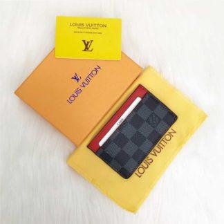 louis vuitton cuzdan kartlik siyah gri damier kirmizi 11x7
