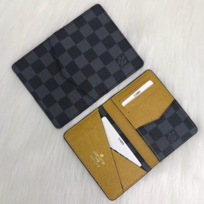 louis vuitton cuzdan kartlik siyah gri damier sari 11x7