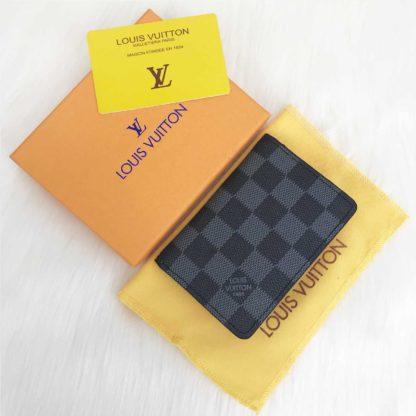 louis vuitton cuzdan kartlik siyah gri damier turuncu 11x7