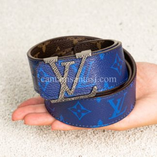 louis vuitton kemer mavi monogram cift tarafli silver toka