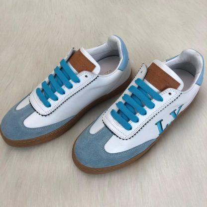 louis vuitton sneakers frontrow vintage suede mavi beyaz kutulu