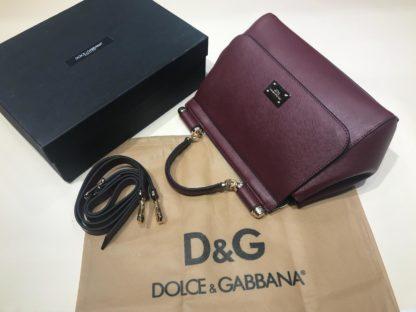 Dolce Gabbana suni deri canta askili buyuk boy bordo 30x25