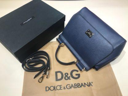 Dolce Gabbana suni deri canta askili buyuk boy lacivert 30x25