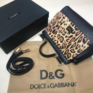 Dolce Gabbana suni deri canta askili buyuk boy leopar desenli siyah 30x25