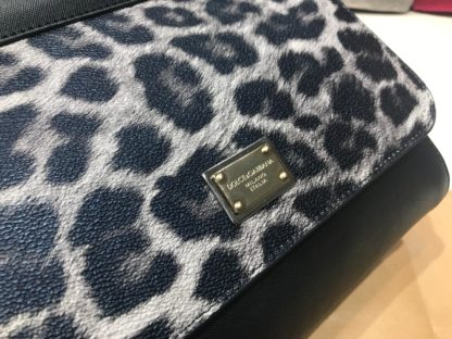 Dolce Gabbana suni deri canta askili siyah gri leopar desen 30x25