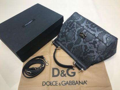 Dolce Gabbana suni deri canta askili yilan desenli siyah 30x25