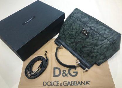 Dolce Gabbana suni deri canta askili yilan desenli yesil 30x25