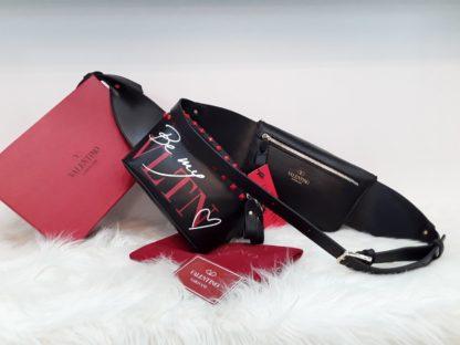 Valentino canta suni deri bel cantasi kirmizi zimbali siyah 22x15
