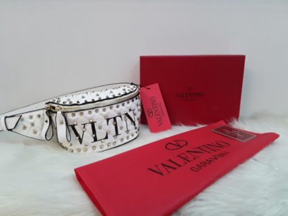 Valentino canta suni deri bel cantasi logolu zimbali beyaz 22x15