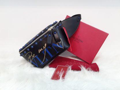 Valentino canta suni deri bel cantasi mavi zimbali siyah 22x15