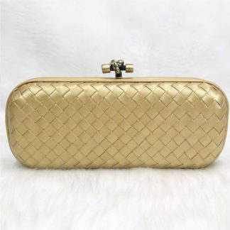 bottega veneta canta stretch knot clutch buyuk boy gold 25x9