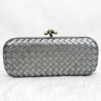 bottega veneta canta stretch knot clutch buyuk boy lame 25x9