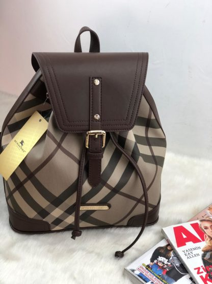 burberry canta suni deri sirt backpack ekose kahve vizon