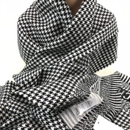 christian dior atki stole siyah beyaz ipek yun 190x50