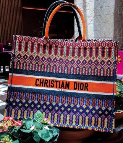 christian dior canta book tote oblique keten turuncu cok renkli 41x32