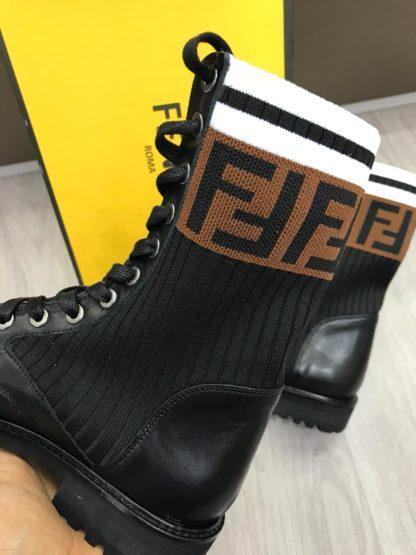 fendi ayakkabi bot siyah baskili