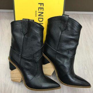 fendi ayakkabi kovboy bot topuklu siyah
