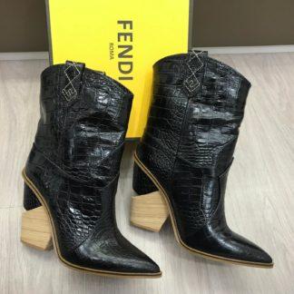 fendi ayakkabi kovboy bot topuklu siyah kroko