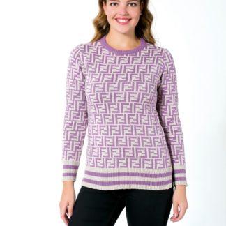fendi sweatshirt triko logo baskili gri lila