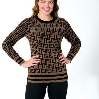 fendi sweatshirt triko logo baskili kahve