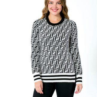 fendi sweatshirt triko logo baskili siyah beyaz