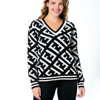 fendi sweatshirt triko v yaka logo baskili siyah beyaz