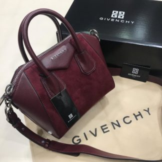 givenchy canta suni deri mini boy capraz askili suet bordo