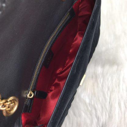 gucci canta marmont velvet kadife askili siyah 27x16