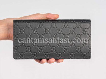 gucci cuzdan erkek cuzdan siyah gg logo kabartmali desen