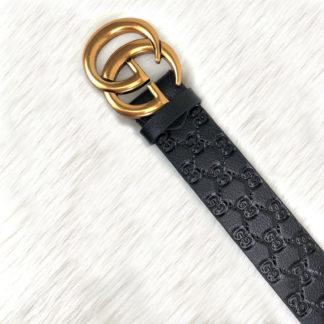 gucci kemer siyah baskli deri gold toka 4cm