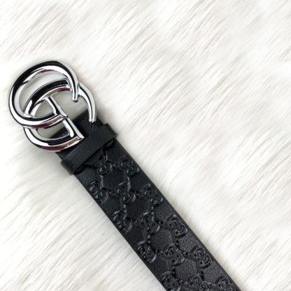 gucci kemer siyah baskli deri silver toka 4cm