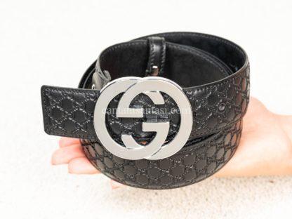 gucci kemer unisex silver toka logo kabartmali siyah
