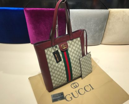 gucci suni deri canta shopping bordo 37x35