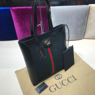gucci suni deri canta shopping siyah siyah 37x35