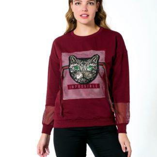 gucci sweatshirt kedi payetli file bordo
