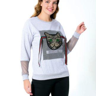 gucci sweatshirt kedi payetli file gri