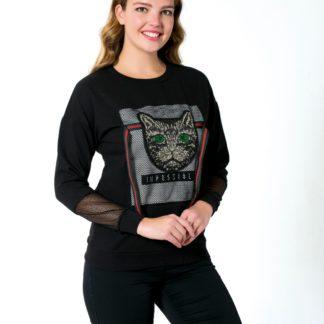 gucci sweatshirt kedi payetli file siyah