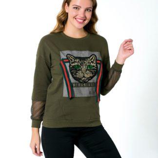 gucci sweatshirt kedi payetli file yesil