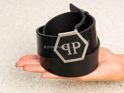 philip plein kemer erkek siyah logo tokali altigen pp silver