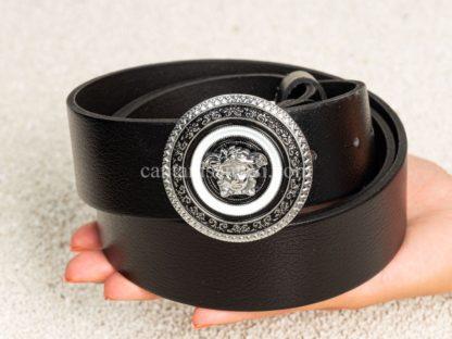versace kemer unisex siyah classic silver logo toka