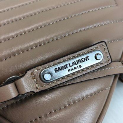 ysl saint laurent canta Lou postaci cantasi camel silver 23x16cm