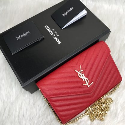 ysl saint laurent canta quilted omuz cantasi gold kirmizi 23x15
