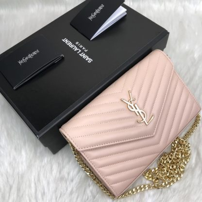 ysl saint laurent canta quilted omuz cantasi gold pudra pembe 23x15