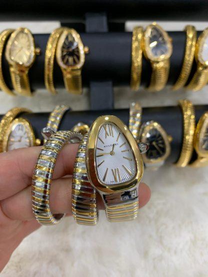 bvlgari saat beyaz gold silver tasli