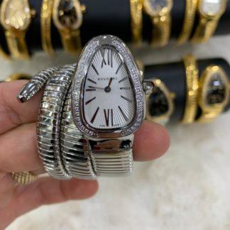 bvlgari saat silver beyaz tasli
