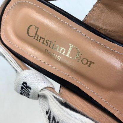 christian dior ayakkabi jadior Slingback Canvas topuklu ayakkabi siyah taban 7 cm