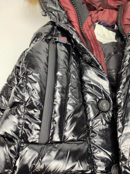 moncler mont parlak iki renk siyah bordo kapuson